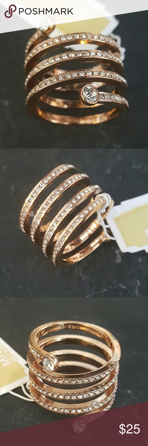 7751e26d76344 Michael Kors Pave Rose Gold Tone Coil Ring MKJ4724 Rose Gold Tone Size 8  Stainless steel