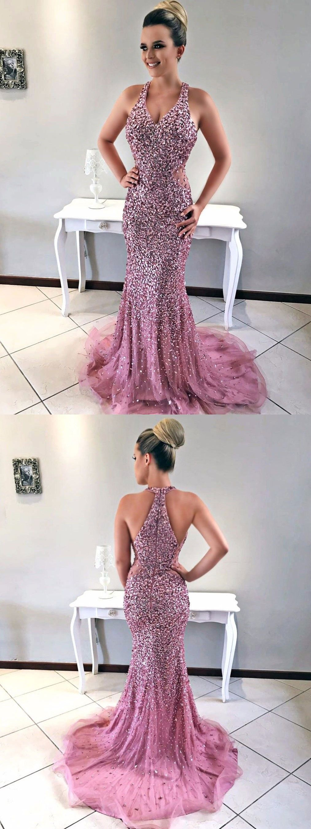 Mermaid vneck sweep train light purple tulle prom dress with
