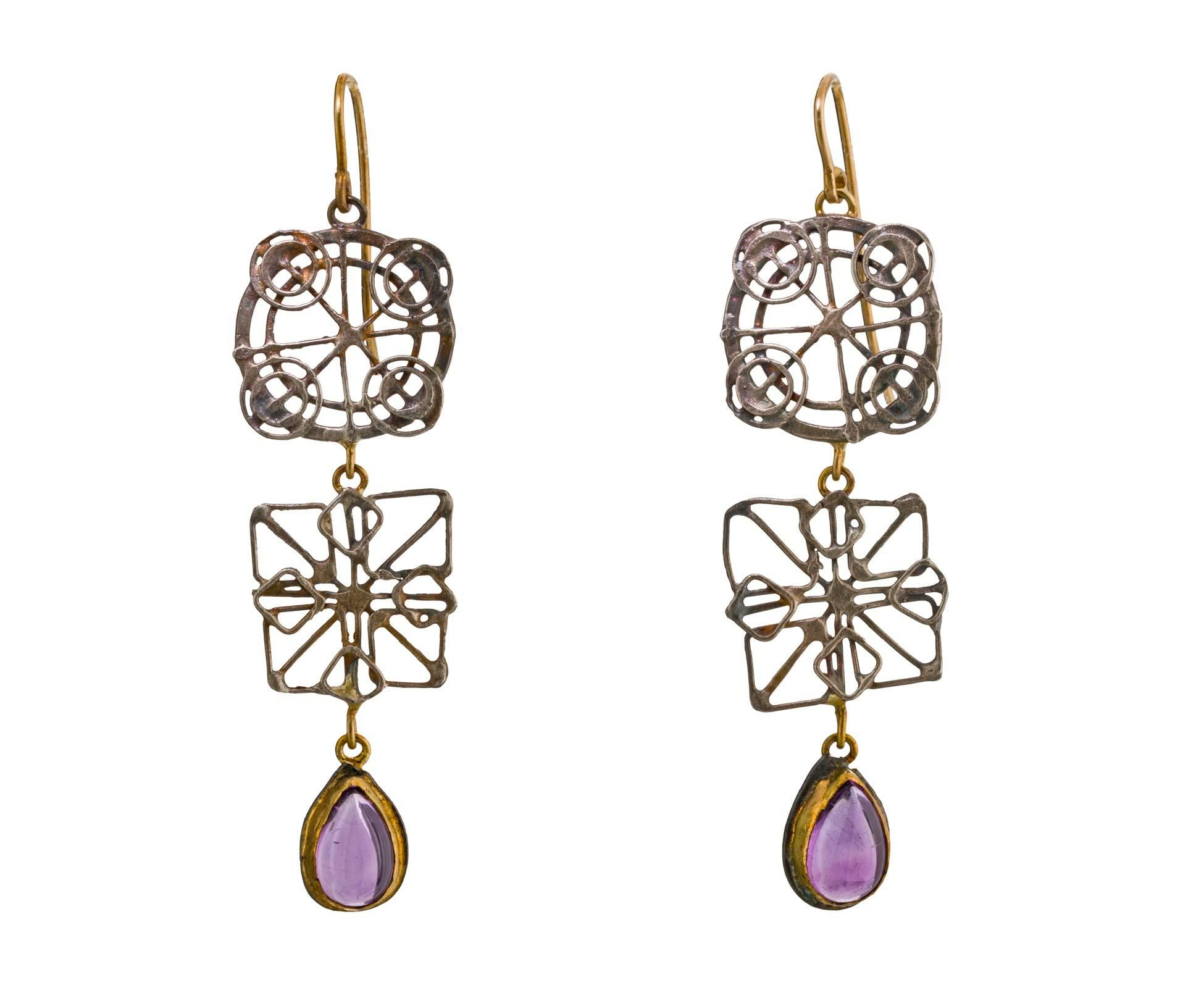 Amethyst Wheel Drop Earrings for a whimsical statement  Wear with ring