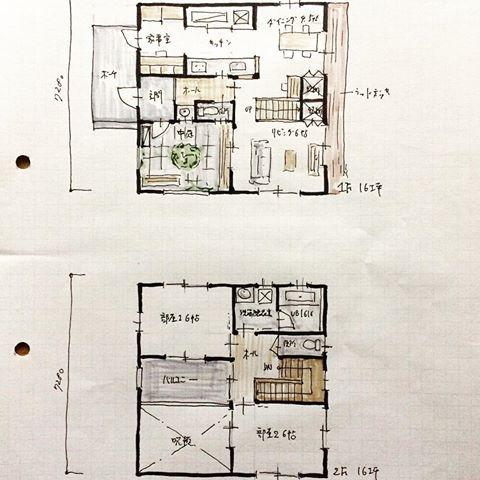 32坪の間取り 西玄関 中庭 Ldk 家事室 ベッドルーム2室 バルコニー