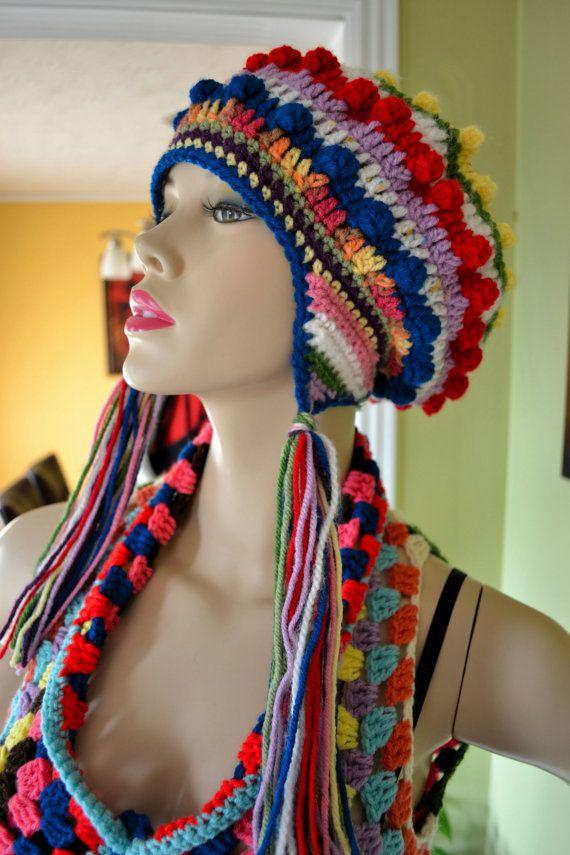 Verkauf Hippie-Zigeuner Popcorn Hut in Multicolor von OrawanCrochet ...