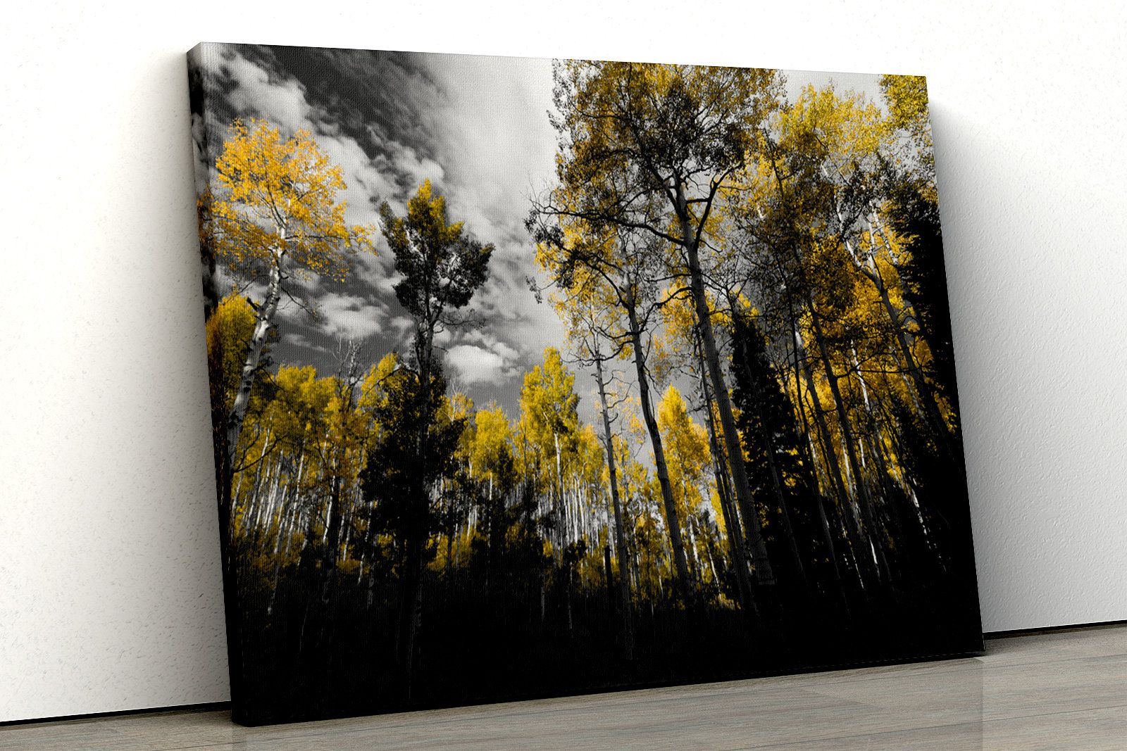 Yellow Trees Black And White Forest Scene Framed Canvas Print Etsy Nature Canvas Art Framed Canvas Prints Wall Art Prints