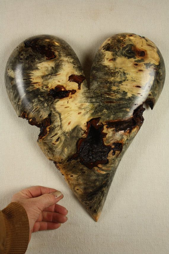 Special carved wooden Heart gift wood by TreeWizWoodCarvings