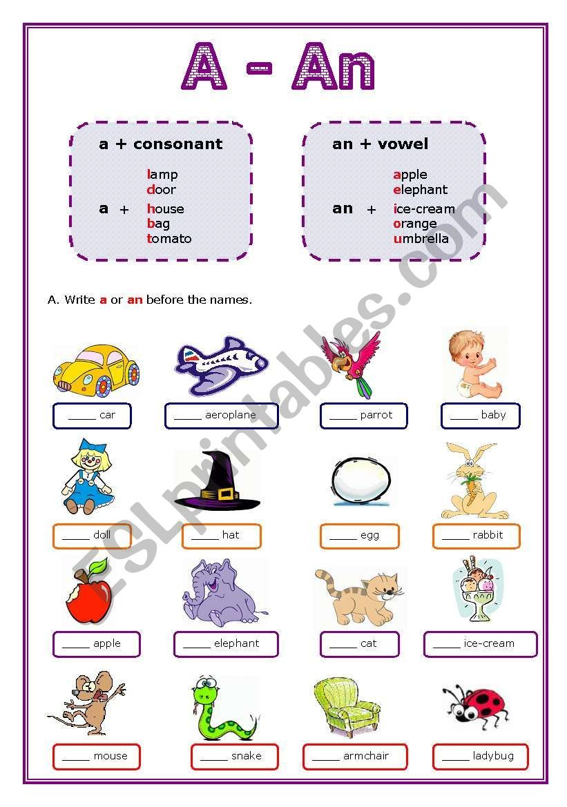 This Is A Worksheet About The Indefinite Article A Or An There Are Four Pages With Simpl English Grammar For Kids Article Grammar English Worksheets For Kids