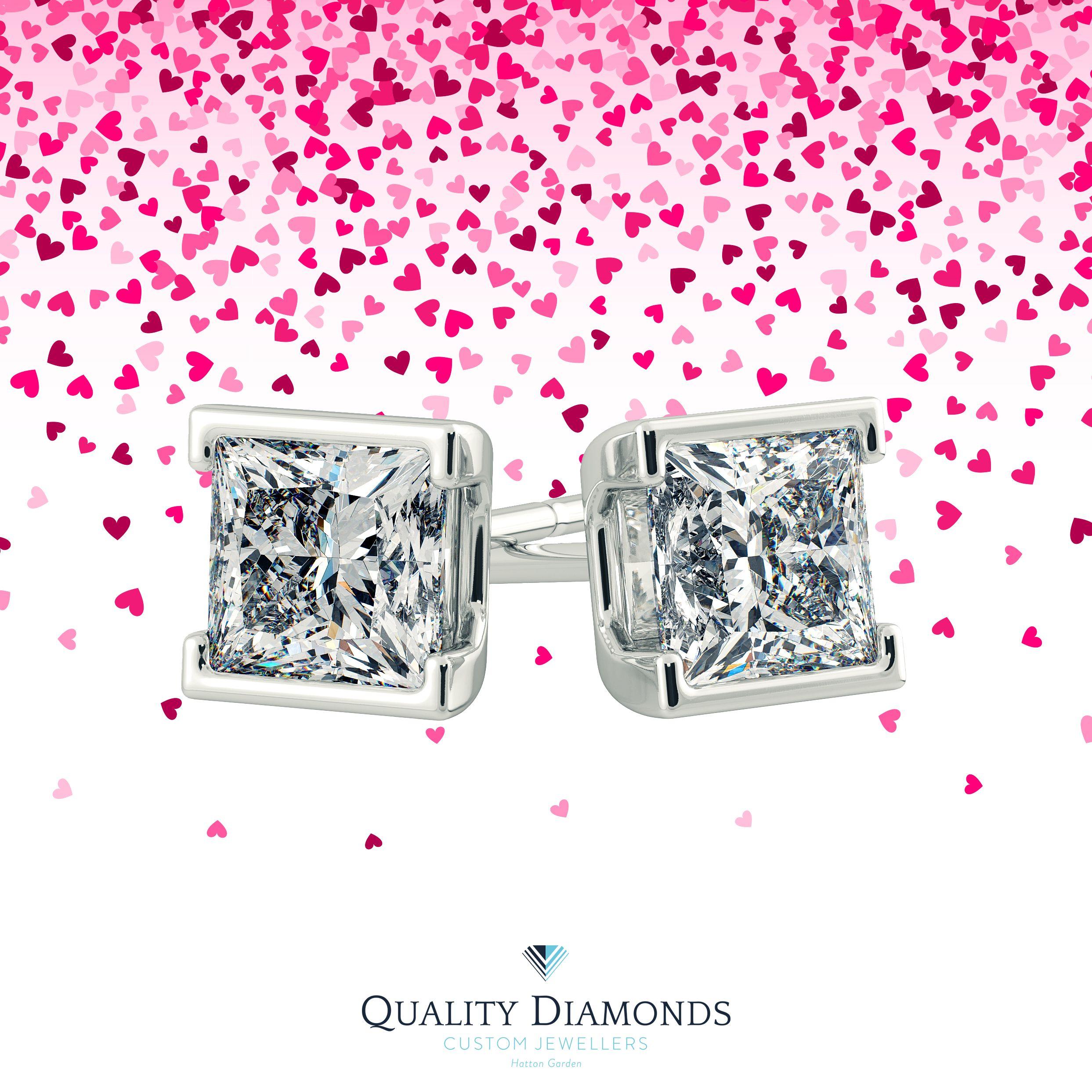 No 10 Princess cut Alvera Earrings Contemporary in White Gold