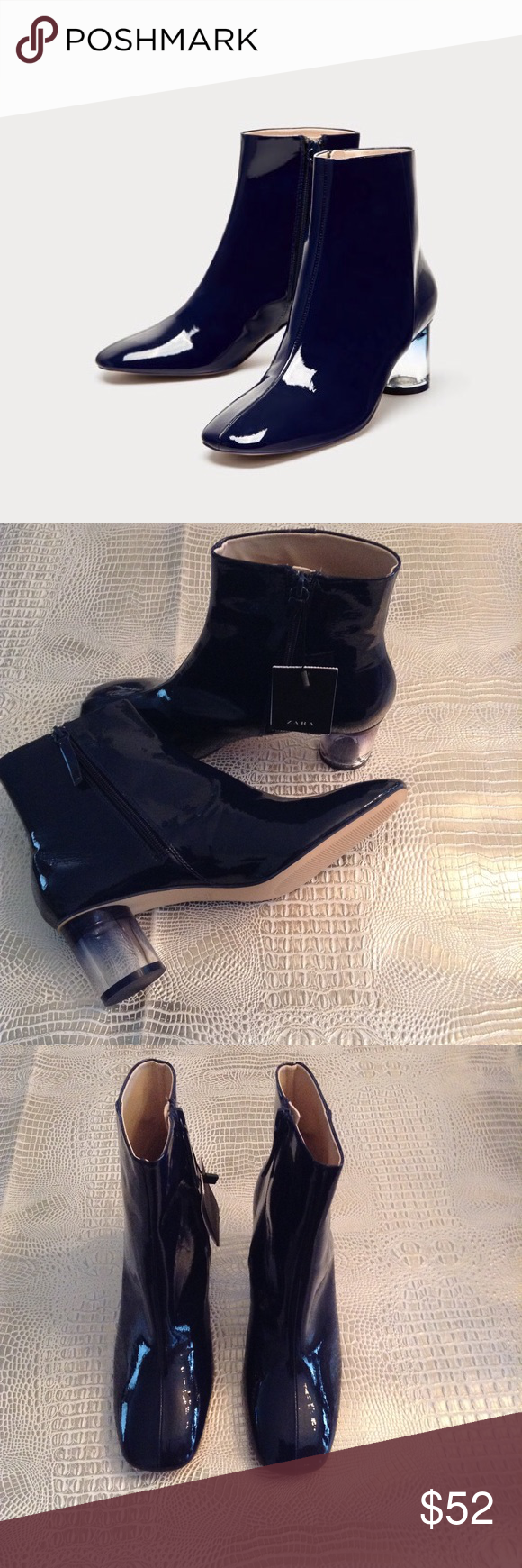 afa79a78a877 Zara Navy Ankle Boots with Clear Heels Navy blue high heel ankle boots.  Faux patent finish. Clear heel detail. Side zip closure. Heel height 2.2