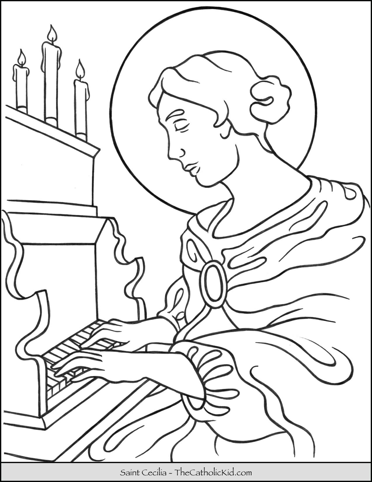 Saint Cecilia Coloring Page Thecatholickid Com Coloring Pages