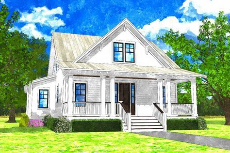 Delightful 3 Bed Cottage Plan with First Floor Master Bed