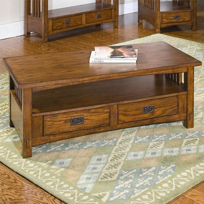 Nebraska Furniture Mart Peters Revington Mission Oak Coffee Table With 2 Drawers