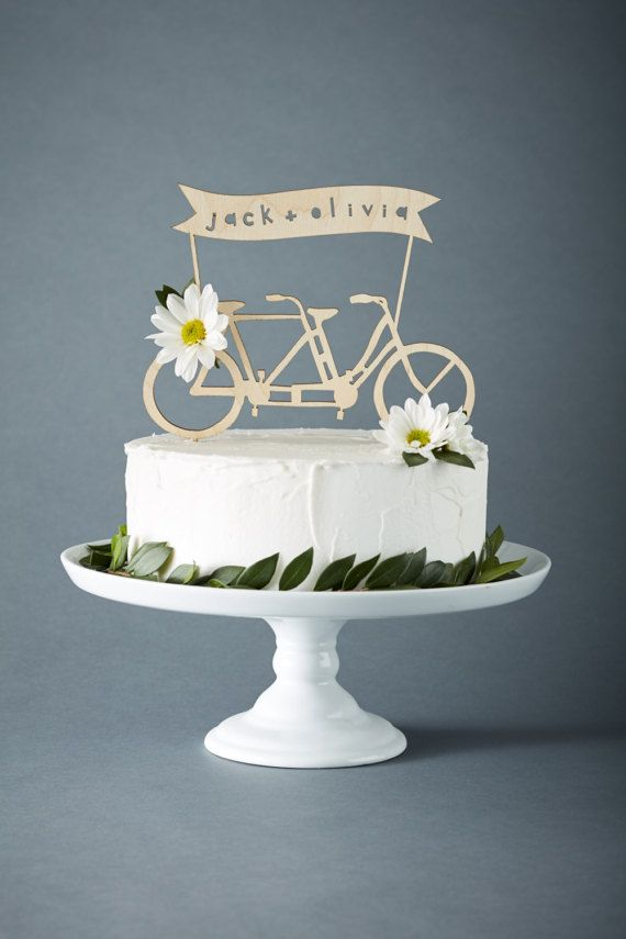 Lasercut 1 8 Birch Bicycle Cake Topper Can Be Customized With Your Names Measures Rox 6 X 7 5 Inches Not Including Sticks At Bottom