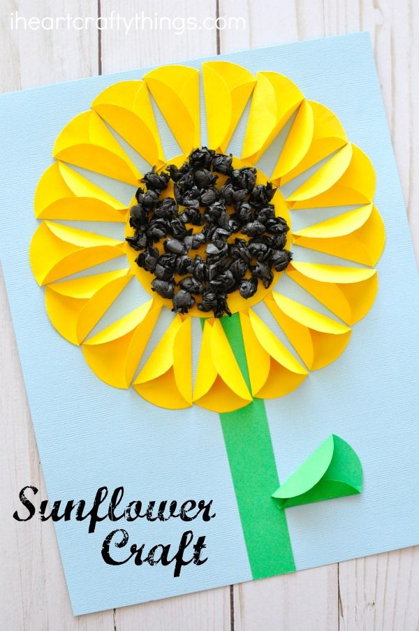 Your kids are interesting, fun,. Folded Paper Sunflower Craft Sunflower Crafts Flower Crafts Summer Crafts For Kids