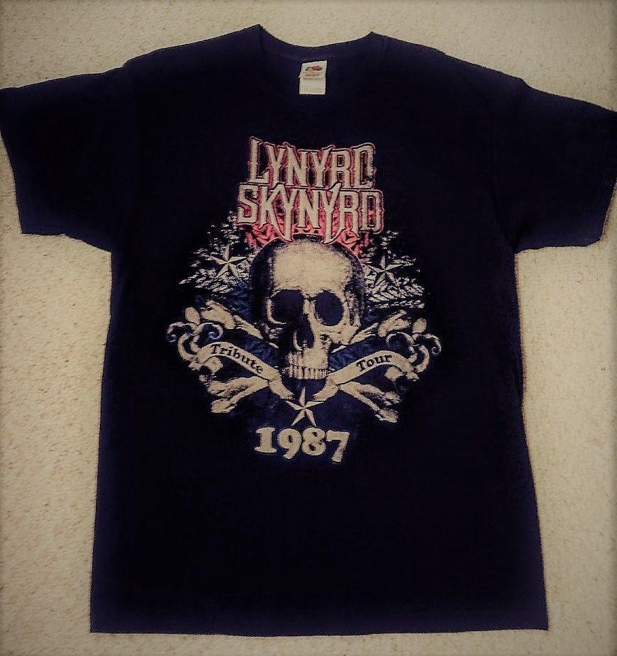 d71866a5 Lynyrd Skynyrd T-Shirt Mens XL Tribute Tour 1987 Skull & Bones Heavy Cotton