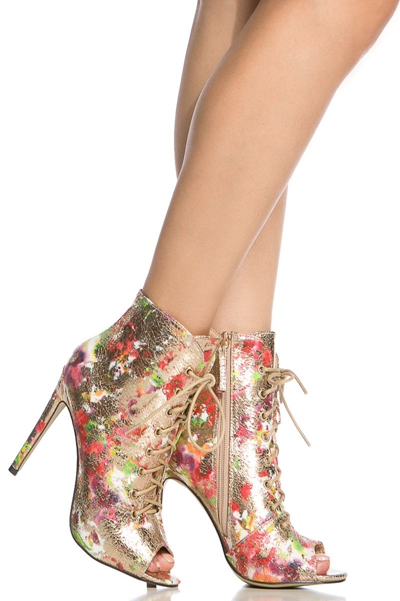 Water Color Print Shimmer Lace Up Peep Toe Booties @ Cicihot Heel Shoes online store sales:Stiletto Heel Shoes,High Heel Pumps,Womens High Heel Shoes,Prom Shoes,Summer Shoes,Spring Shoes,Spool Heel,Womens Dress Shoes