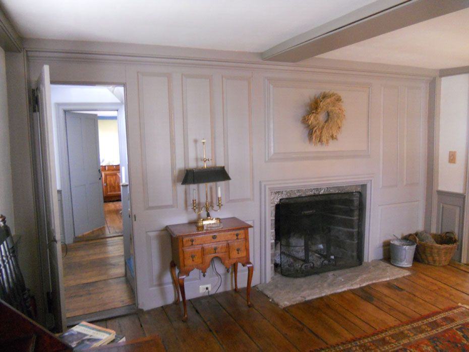 Cape Cod Colonial Fireplace Raised Wood Paneling Wide Plank Wood Floors Farmhouse Chic Dining Farmhouse Fireplace Mantels Farm House Living Room