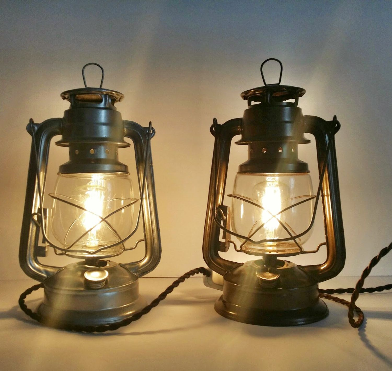 Set of 2 lantern lamps large electric lantern vintage railroad set of 2 lantern lamps large electric lantern vintage railroad lantern rustic table lamps industrial arubaitofo Images