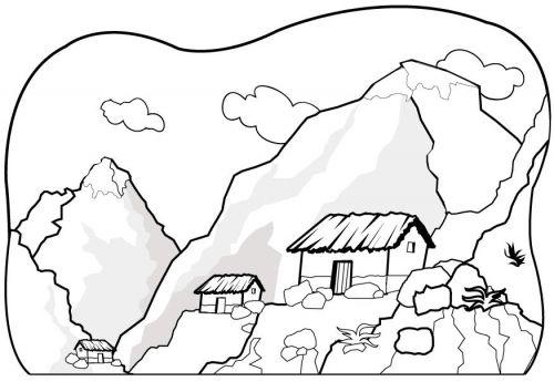 Dibujos Para Colorear Paisajes Dibujos Para Colorear Paisajes Paisajes Para Pintar Faciles Montanas Dibujo
