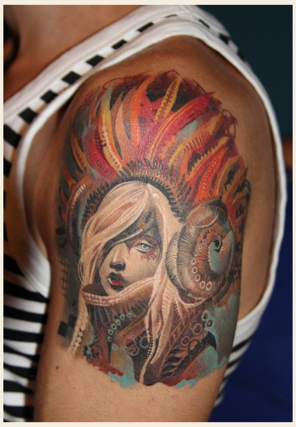 Dia de los Muertos  Artist of art work Android Jones (I think)  Tattoo Artist Unknown