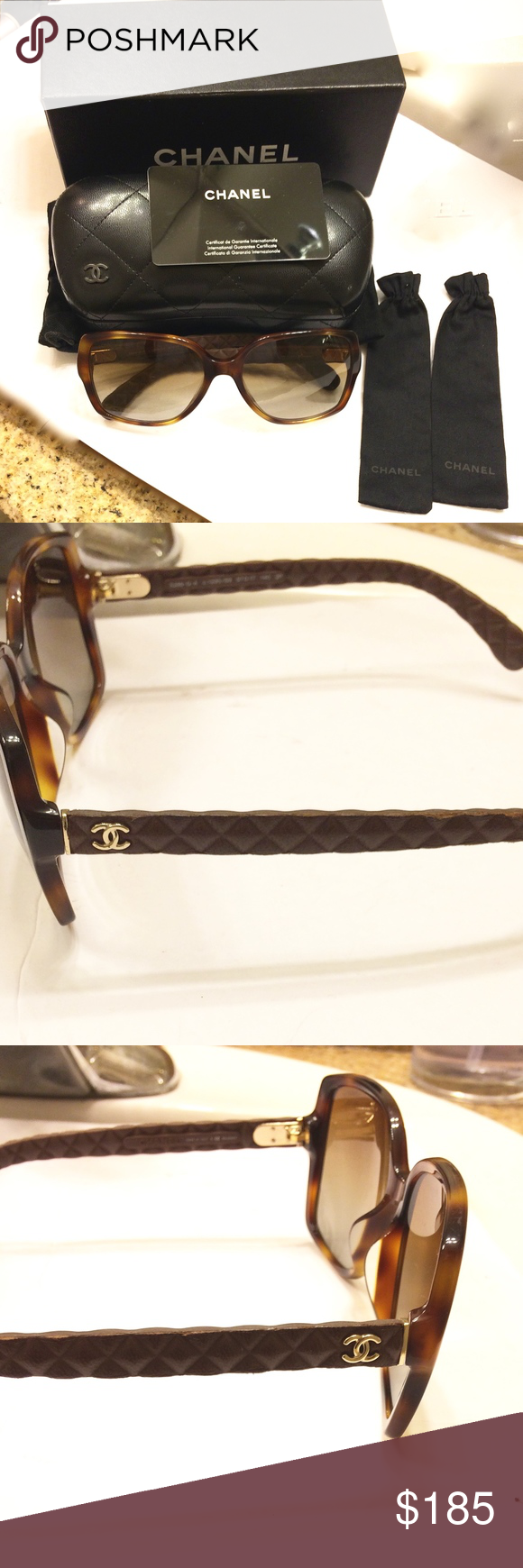CHANEL Sunglasses CC Logo in good used condition.  the handles have scuffs, see photo #6.  it comes with whole bunch of stuff as you can see.  even the handles have their own dust bags. CHANEL Accessories Sunglasses