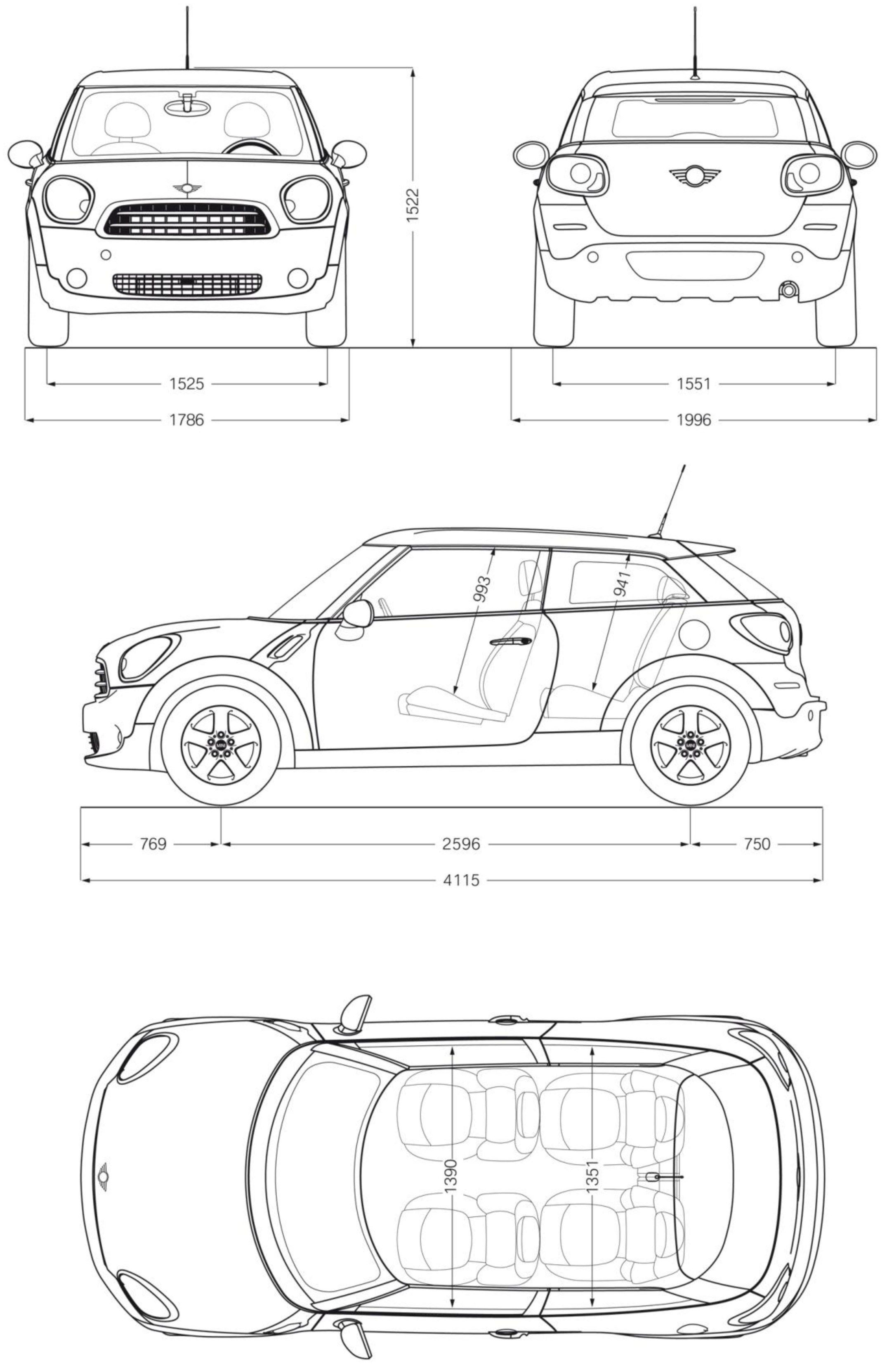 Old Mini Cooper Blueprint Tdrawing Bmw M3