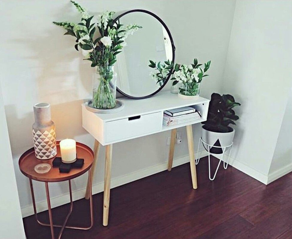 Kmart Foyer Table : Hall table mirror copper side pot plant and