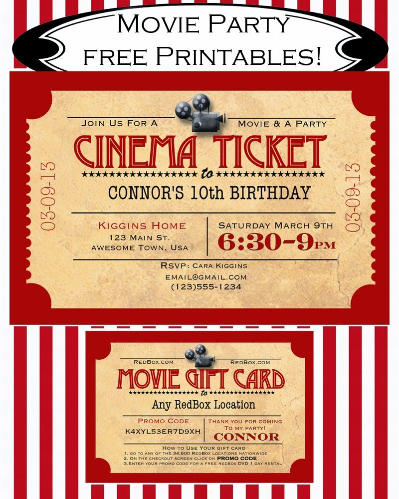Like Mom And Apple Pie: A Summer Of Movies! Free Movie Party Invitation And  Redbox Gift Card Printable  Watch Free Latest Movies Online On  Free Printable Ticket Style Invitations