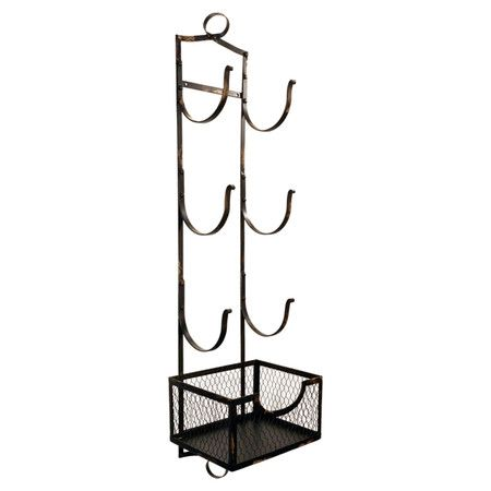 3-tiered black metal towel rack with 6 hooks and a mesh storage bin base.  Product: Towel rackConstruction Material:...