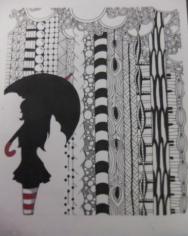 Out in the Rain zentangle