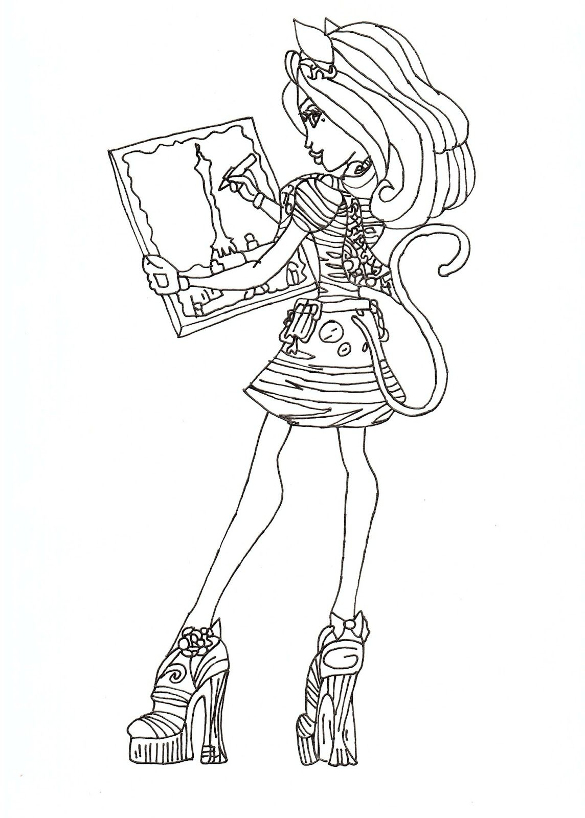 Monster High Free Printables Catrine De Mew Free Coloring Sheet