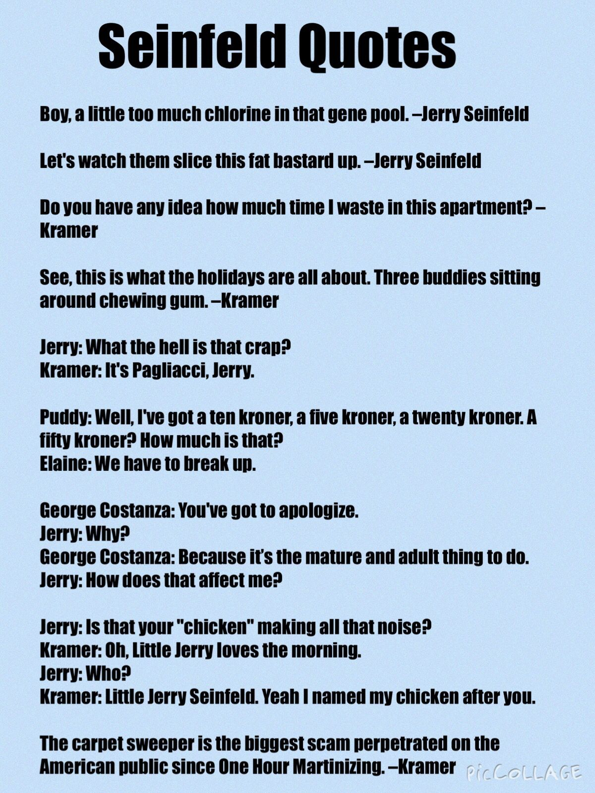Best Seinfeld Quotes Ever - Copied in its entirety from....http ...