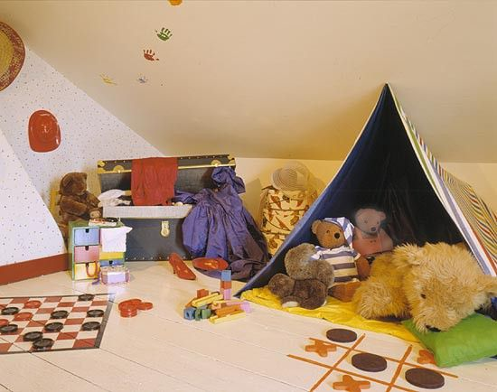 Play room with checkers and tic tac toe game boards for Playroom floor ideas