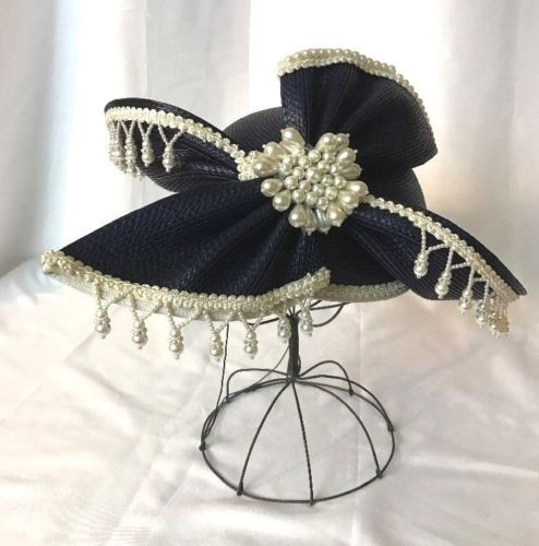 Vtg-Womens-Hat-Church-Dress-Kentucky-Derby-Party-Navy-Blue-Straw-Pearl-Small-Med