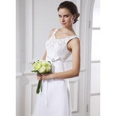 [£ 89.55] A-Line/Princess Scoop Neck Tea-Length Organza Satin Wedding Dress With Sash Beadwork (002015483)