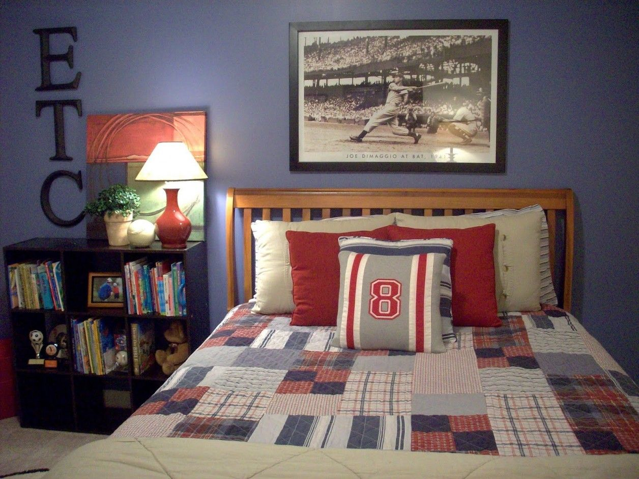 Fantastic 10 Year Old Boy Bedroom Ideas Using Eclectic Bed And Red White  Pillows Combined With