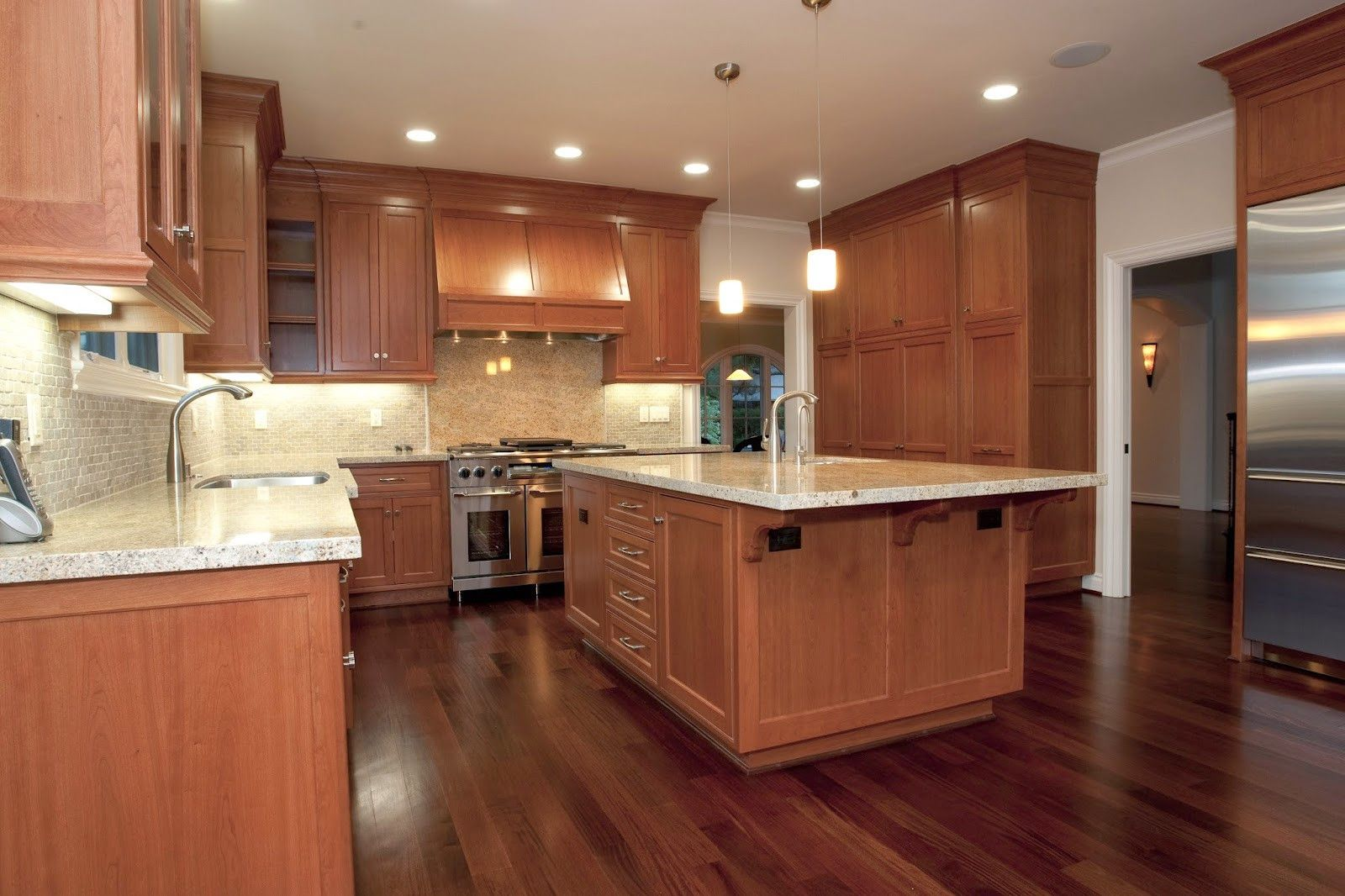 50 What Color Hardwood Floor With Cherry Cabinets Kitchen Nook Lighting Ideas Check More At Light Wood Kitchens Wood Floors Wide Plank White Modern Kitchen
