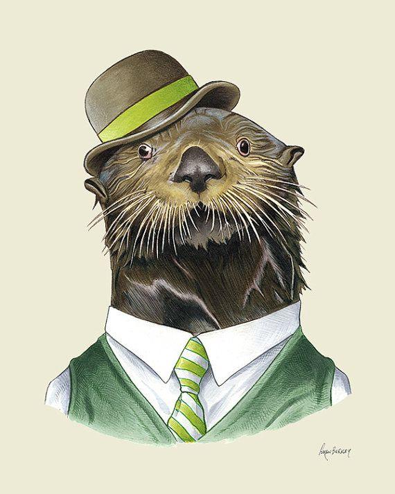 Otter animal print - modern kids art - art print - living room decor - animals…
