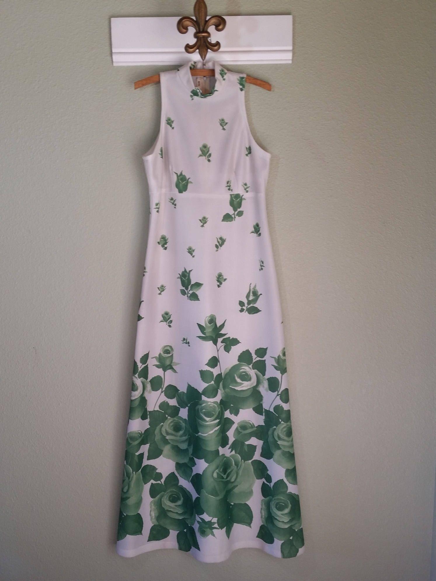 Vintage Maxi Dress Sleeveless Rose Floral Polyester Etsy Vintage Maxi Dress Maxi Dress Vintage Outfits [ 1992 x 1494 Pixel ]