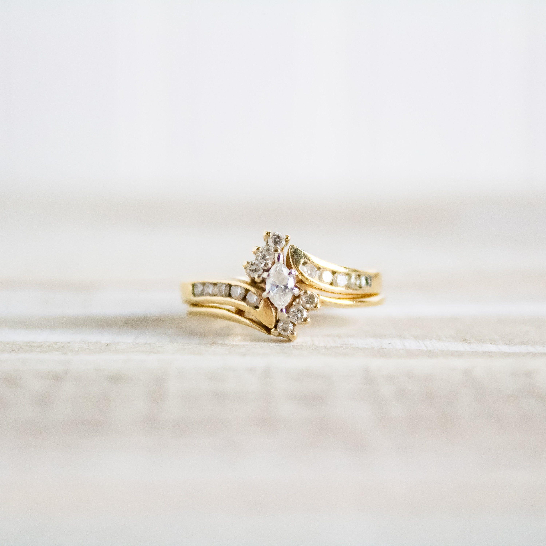 Marquise Diamond Bypass Bridal Set Engagement Ring Wedding Band