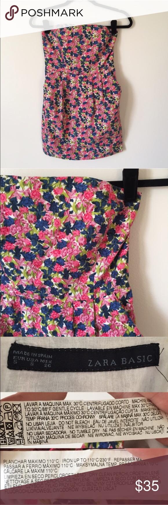 Zara floral strapless mini A fun and flirty floral strapless mini dress. Side zip. Pockets Zara Dresses Strapless