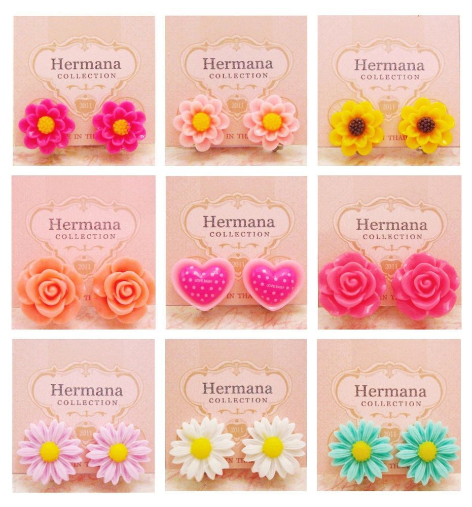 9 Pairs Lot of Cute Vintage Flowers Girls Kids Clip-On ...