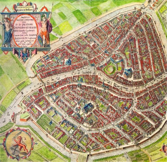 Pieter Bast c 1600 Map of Leiden mapa Pinterest Leiden