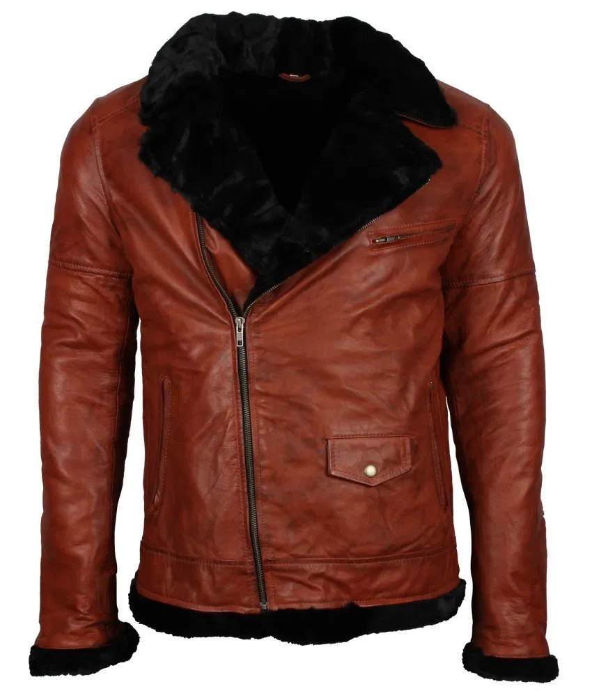 Men Classic Brando Biker Fur Lined Brown Aviator Leather