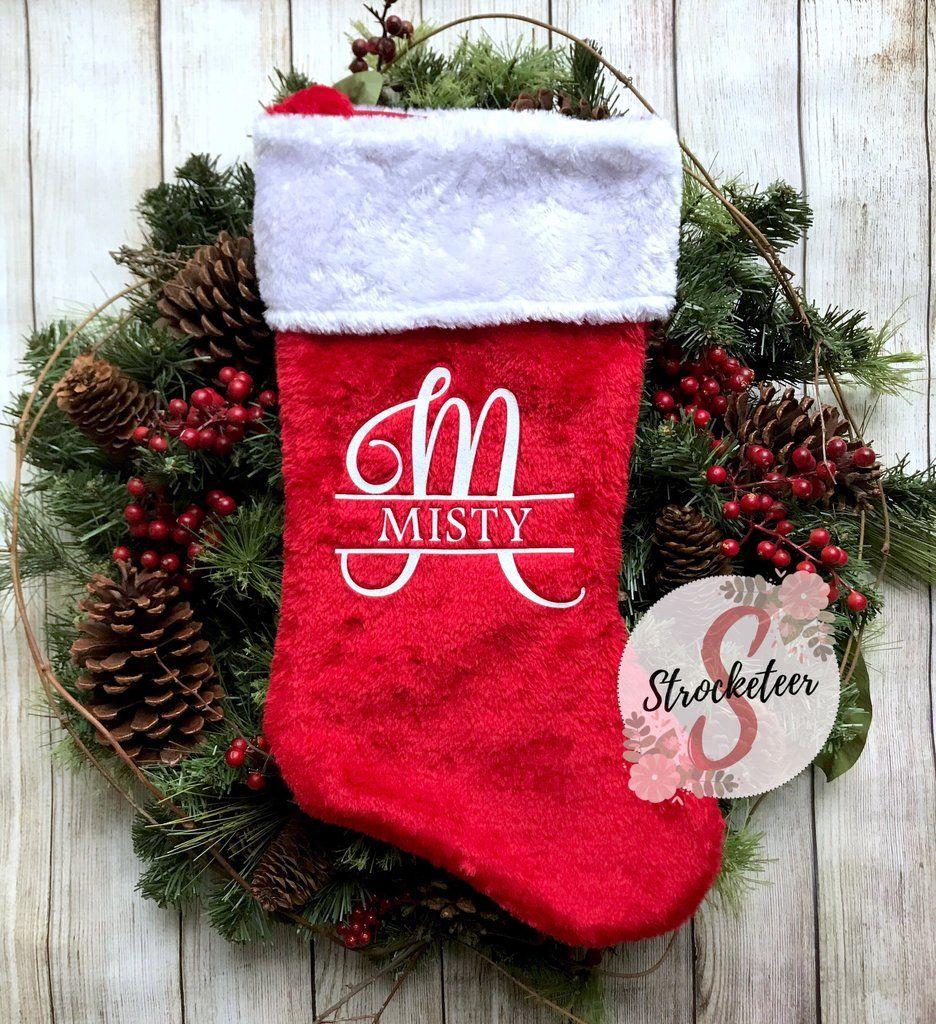 d0d6c0cf374e4 Custom Monogrammed Christmas Stocking - Includes Custom Letter   Name