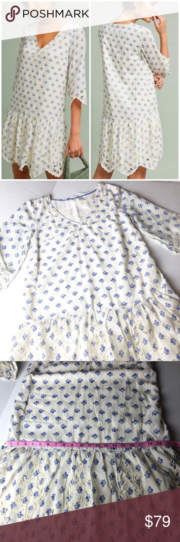 2f1b1f0f5a5a New Anthropologie Meadow Rue Eyelet Tunic Dress SP New without tag Soft  floral blue pattern V Neck Tunic Dress Dropped waist and 3/4 Length Sleeves  Eyelet ...