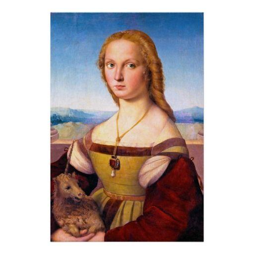 Photo of Lady with the Unicorn Raphael Santi portrait paint Poster   Zazzle.com