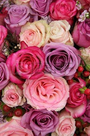 Wedding flowers: roses in various pastel colors