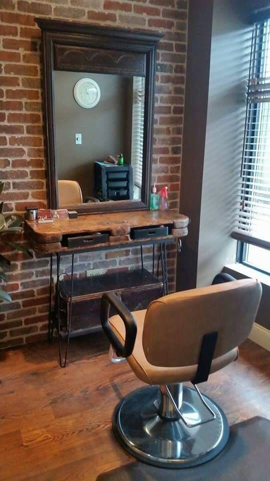 Rustic vanity table salon station repurposed industrial for Salon furniture makeup station
