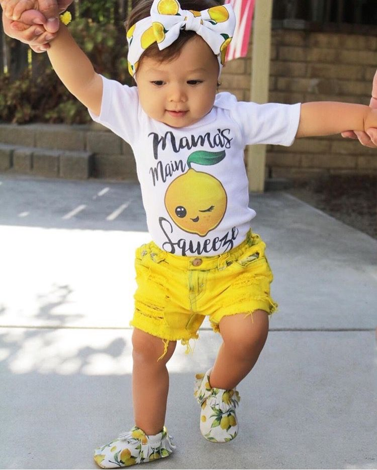 Sunshine Shorties Custom Distressed Dyed Denim Yellow Jean Shorts Baby Toddler Girls from BRUISERS N BEAUTIES