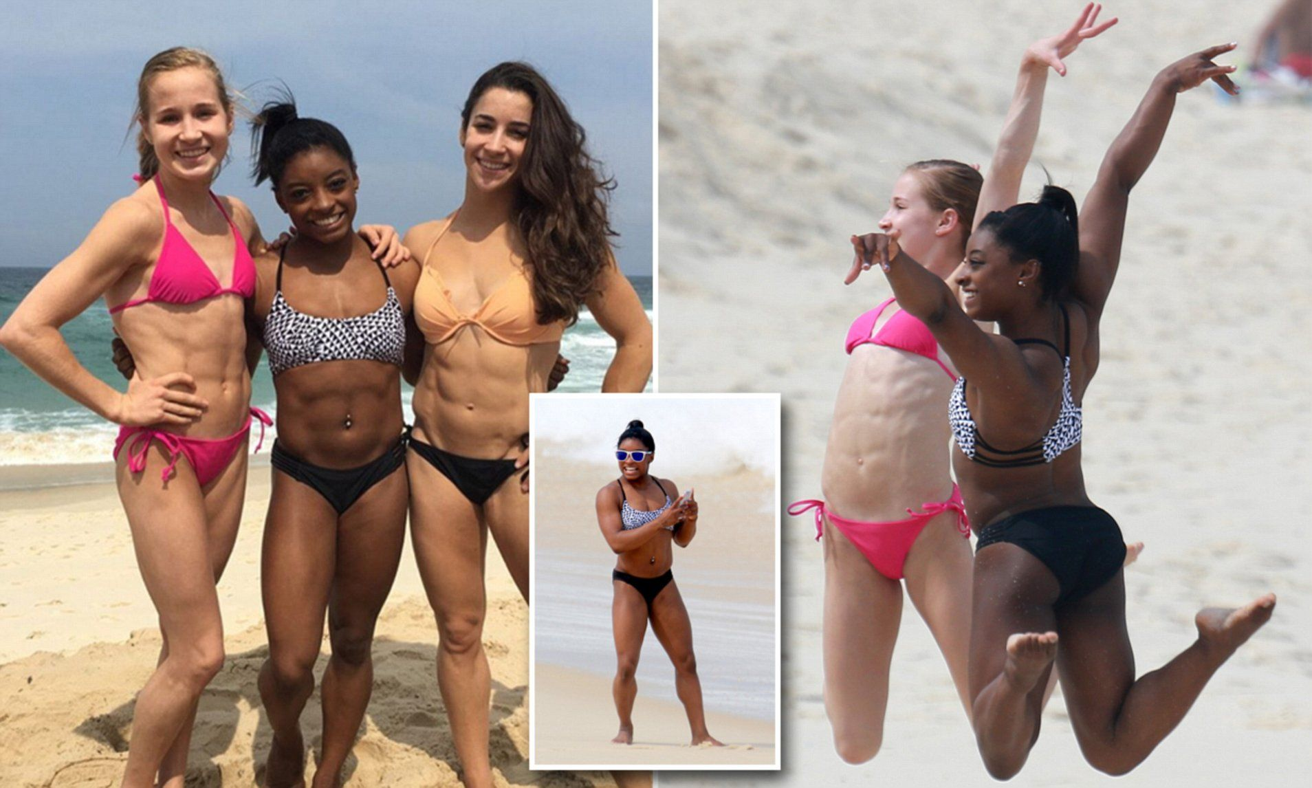 If anyone deserves a beach day, it& Simone Biles and her Final Five  teammates. The US gymnasts traded their leotards for bikinis as they  enjoyed a day out ...