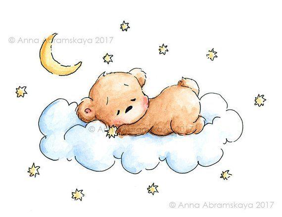 Sleeping Teddy Bear - Printable Art - Nursery Wall Decor - Children's Illustration - Digital file - Instant Download - Watercolor #babyteddybear