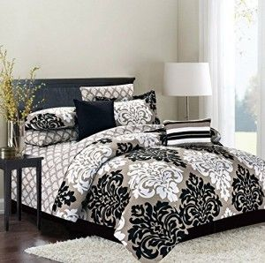 king 10 piece comforter bedding and sheet set reversible damask to stripe tan black and white. Black Bedroom Furniture Sets. Home Design Ideas